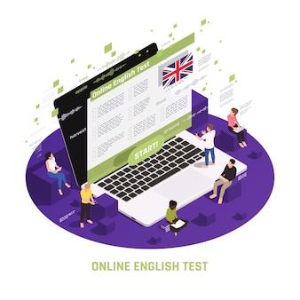 Composição isométrica circular de aprendizagem de línguas com pessoas sentadas em pé no laptop, passando no teste de inglês online