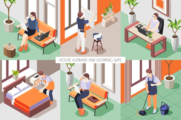 Composição isométrica com a mulher trabalhando no computador e o marido lavando o chão, fazendo a cama, 3d isolado