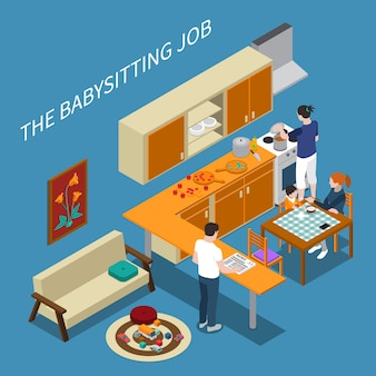 Composição isométrica com babá alimentando menino e pais cozinhando e lendo jornal ilustração em vetor 3d