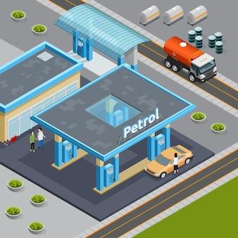 Composição isométrica com caminhão para transporte de óleo perto de posto de gasolina 3d