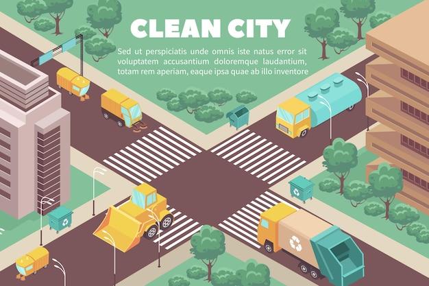 Composição isométrica com caminhões de lixo e contêineres de lixo nas ruas de cidade limpa ilustração em vetor 3d