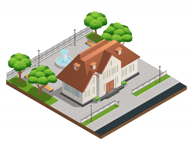 Composição isométrica com casa suburbana e grande quintal limpo com árvores de fonte e bancos