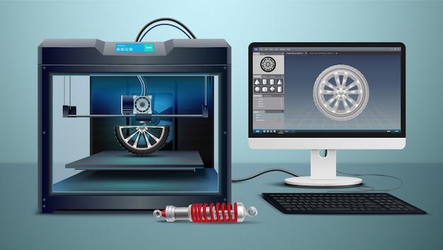 Composição isométrica com computador e ilustração em vetor processo impressão 3d
