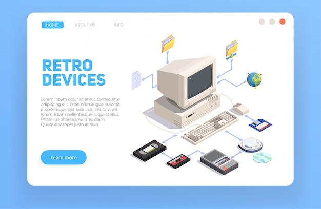 Composição isométrica com computador pessoal e outros gadgets retrô 3d