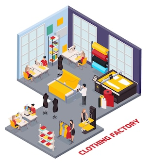 Composição isométrica com equipamento de costura e pessoas que trabalham na fábrica de roupas ilustração 3d
