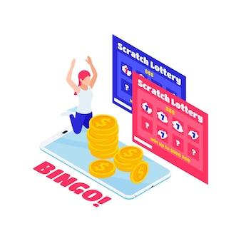 Composição isométrica com moedas de raspadinhas de loteria personagem feliz bingo
