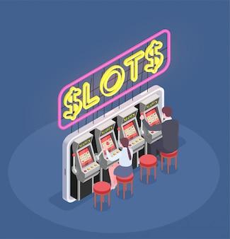 Composição isométrica com pessoas jogando caça-níqueis no cassino 3d