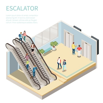 Composição isométrica com pessoas usando a escada rolante e esperando o elevador ilustração 3d