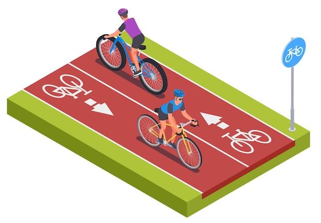 Composição isométrica com símbolos de pista recreativa