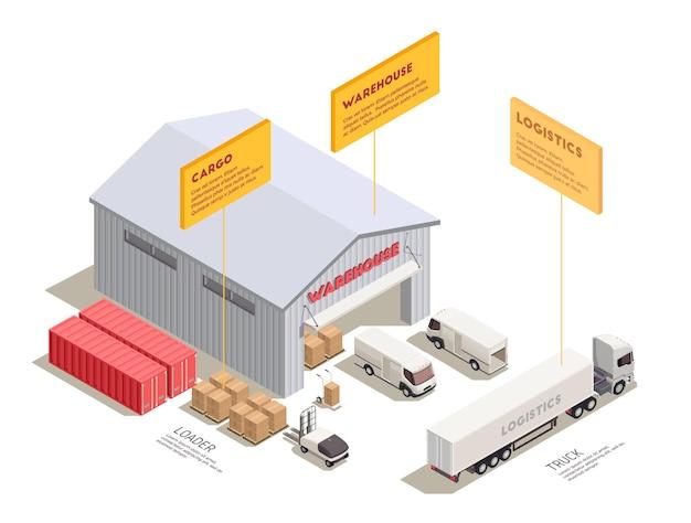 Composição isométrica com treinador de caminhões de entrega e contêineres perto da entrada do armazém ilustração 3d