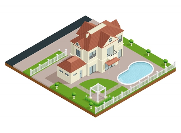 Composição isométrica da casa do subúrbio
