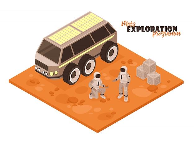 Composição isométrica da colonização de marte no fundo branco com pedaço de carro rover terreno e personagens de astronauta