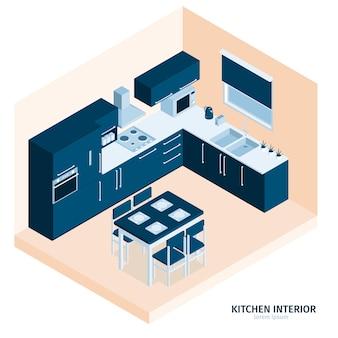 Composição isométrica da cozinha com texto e vista interna da sala de jantar com fogão e utensílios de cozinha