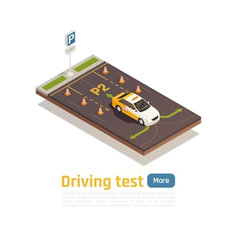 Composição isométrica da escola de condução com cones de setas verdes de carro de treinamento e texto editável com mais botão