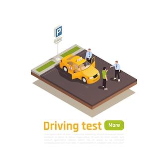 Composição isométrica da escola de condução com vista do local de estacionamento com texto e caracteres humanos do carro de treinamento
