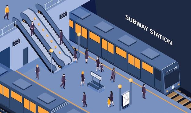 Composição isométrica da estação de metrô subterrânea do metrô com passageiros descendo escada rolante, embarque no trem esperando na plataforma ilustração