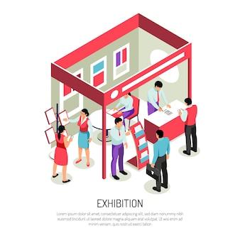 Composição isométrica da exposição com texto editável e exibição da exibição da exposição com prateleiras de suportes informativos