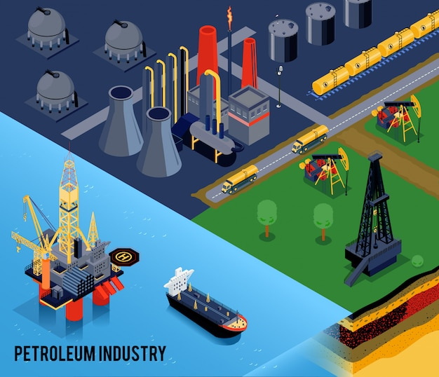 Composição isométrica da indústria de petróleo com manchete da indústria de petróleo e paisagem da cidade