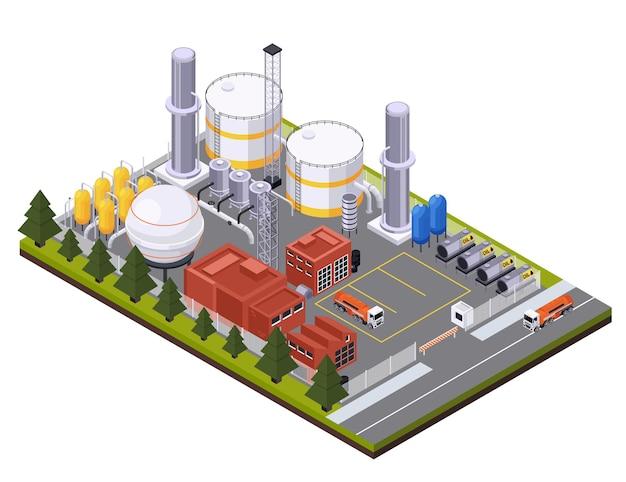 Composição isométrica da indústria de petróleo e petróleo com vista da área da fábrica com caminhões cisternas e ilustração de tanques de óleo