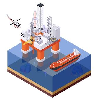 Composição isométrica da indústria de petróleo e petróleo com vista da plataforma de estrutura offshore