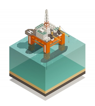 Composição isométrica da indústria de produção de petróleo Vetor grátis