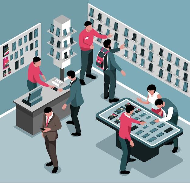Composição isométrica da loja de gadgets com vista interna da loja de eletrônicos com ilustração de smartphones