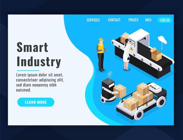 Composição isométrica da página de destino da indústria inteligente com aprender mais ilustração em vetor botão e links