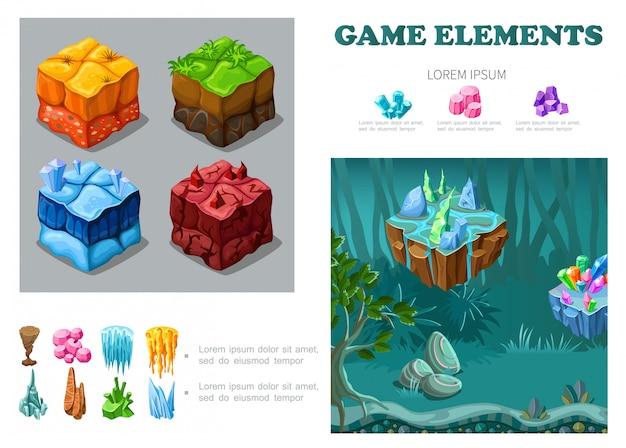 Composição isométrica da paisagem do jogo com areia grama gelo lava solos cristais minerais pedras estalactites floresta de fantasia