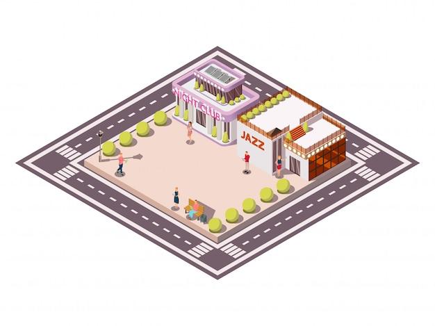 Composição isométrica da praça da cidade delimitada por faixas de carro com o edifício de jazz do clube camas de jardim e ilustração vetorial de pessoas
