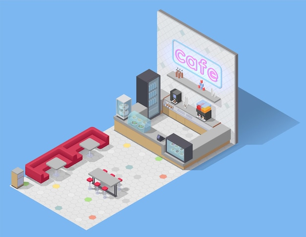Composição isométrica da praça de alimentação com vista de um café vazio com sofás, mesas e balcão de bar