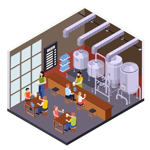 Composição isométrica da produção de cerveja de cervejaria com cenário de pub de cerveja