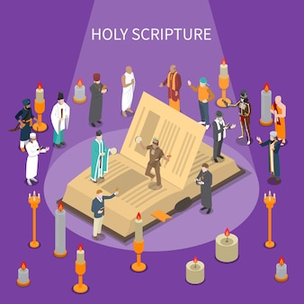 Composição isométrica da sagrada escritura com livro aberto, pessoas de religiões mundiais, velas em fundo violeta