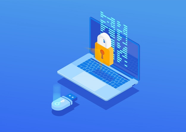 Composição isométrica da tela do laptop com um cadeado fechado, cartão flash sobre um fundo azul.