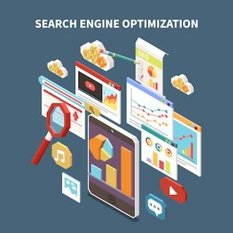 Composição isométrica da web seo com manchete de otimização de mecanismo de busca e ilustração de elementos isolados