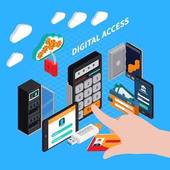 Composição isométrica de acesso digital