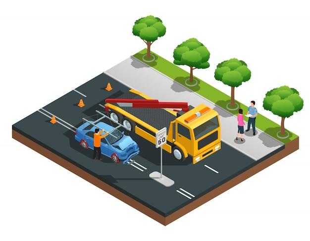 Composição isométrica de acidente rodoviário com motoristas de evacuador de carro danificado e policial vetor illustra