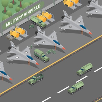 Composição isométrica de aeródromo militar que representa aviões de carga de pouso, caminhões e tanques de combustível