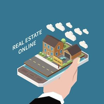 Composição isométrica de agência imobiliária com nuvens e casa à venda no topo do smartphone