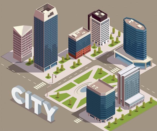 Composição isométrica de arranha-céus da cidade com vista do bloco da cidade com ruas modernas construções altas e ilustração vetorial de texto