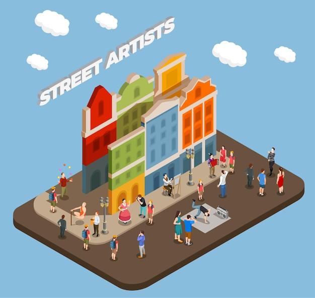 Composição isométrica de artistas de rua com atores músicos e mestres de truques durante performance na cidade