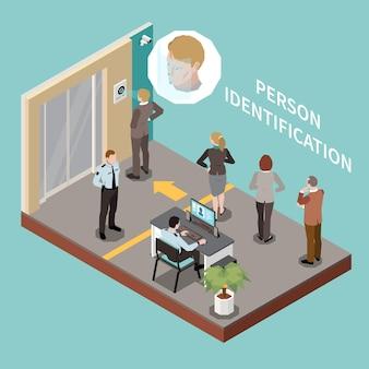 Composição isométrica de autenticação biométrica com área de verificação de segurança e pessoas na fila para ilustração de reconhecimento facial