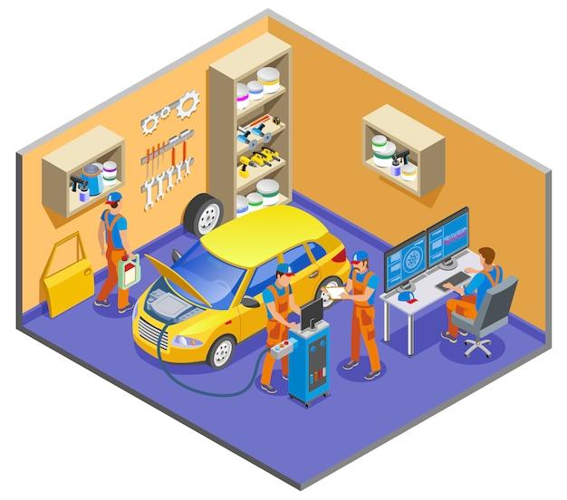 Composição isométrica de auto serviço