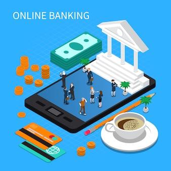 Composição isométrica de banco on-line