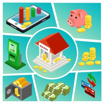 Composição isométrica de bancos e finanças com pagamentos on-line, construção de cofrinho moedas dinheiro barras de ouro, cartões de crédito caixa eletrônico
