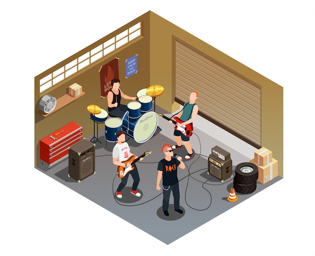 Composição isométrica de banda de garagem