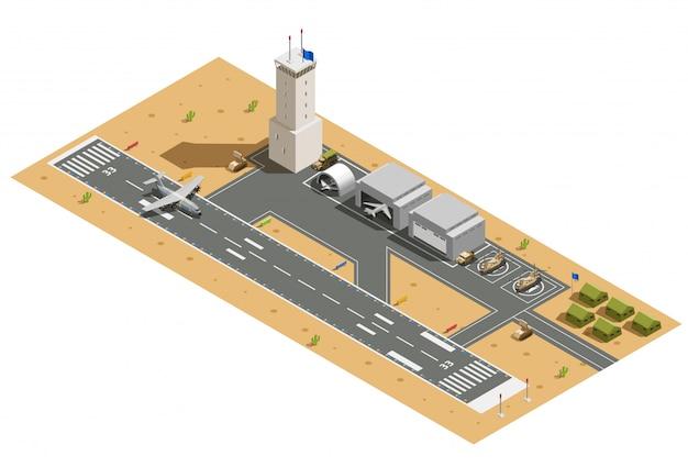 Composição isométrica de base aérea militar