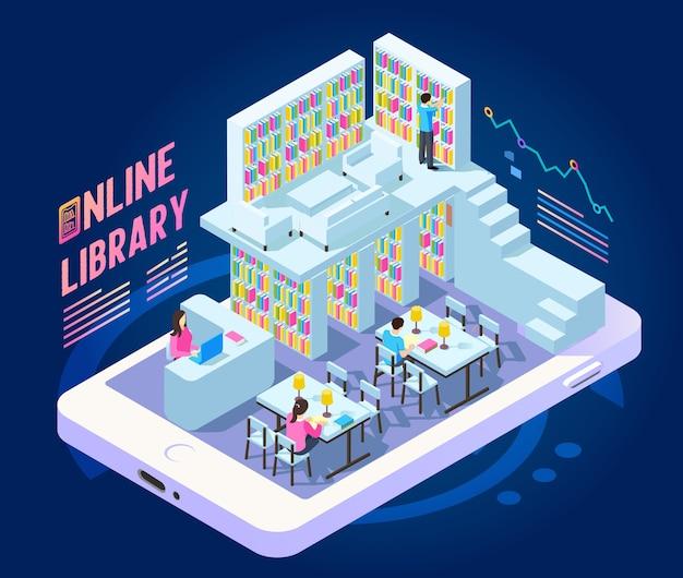 Composição isométrica de biblioteca online com imagem de smartphone com estantes de livros e pessoas pequenas