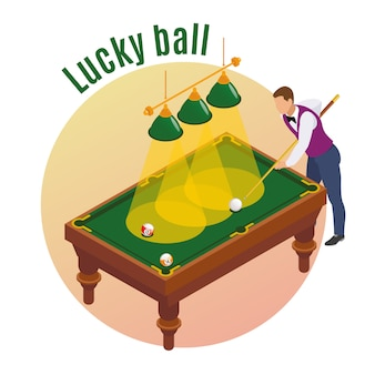 Composição isométrica de bilhar com personagem de jogador masculino, apontando seu taco para golpear a bola da sorte no bolso