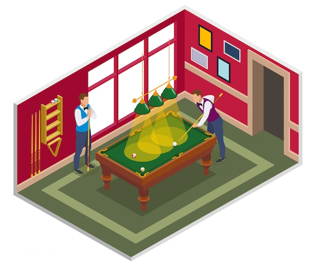 Composição isométrica de bilhar com vista da sala de jogos de bilhar coberta com móveis e personagens de pessoas