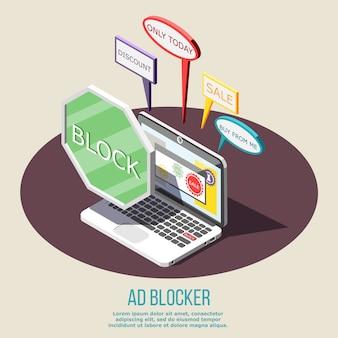 Composição isométrica de bloqueio de anúncio